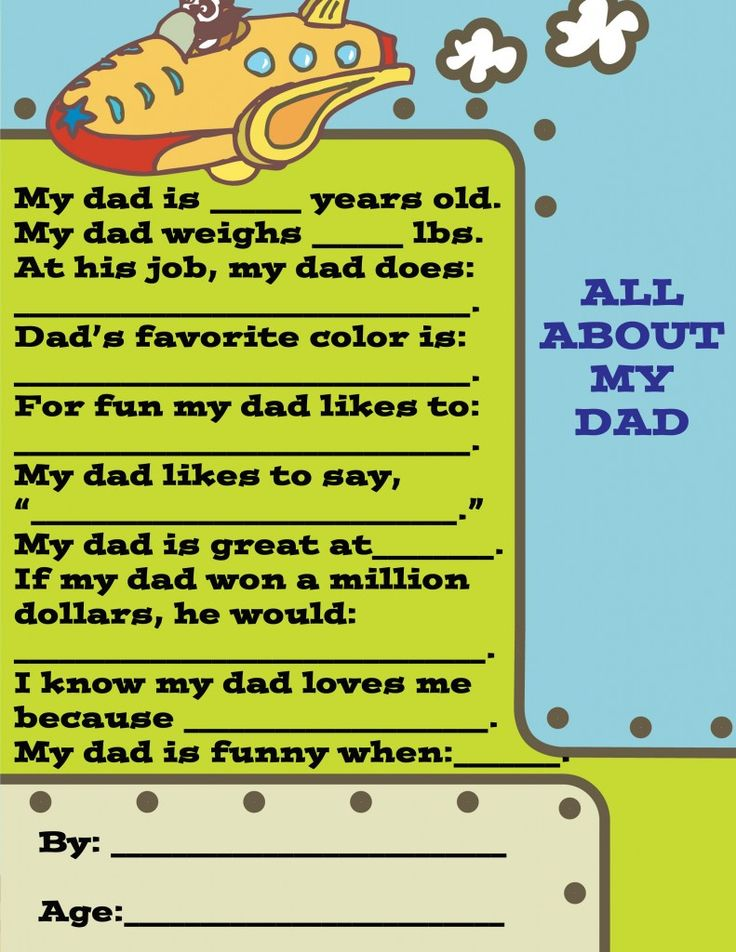 Questionnaire to fill out by kids for dad, would make a fun homemade Father's Day Gift