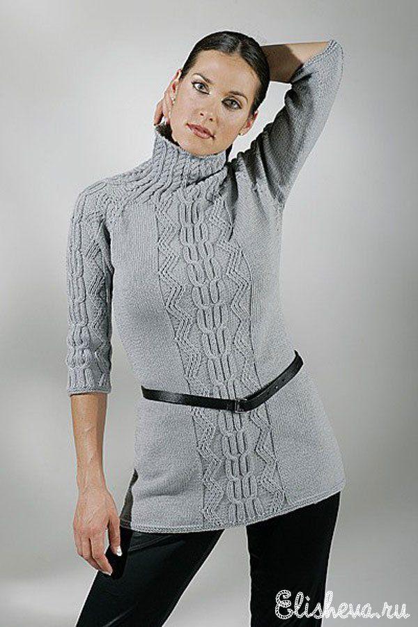 Серая туника с арановым узором вязаная спицами | Блог elisheva.ru