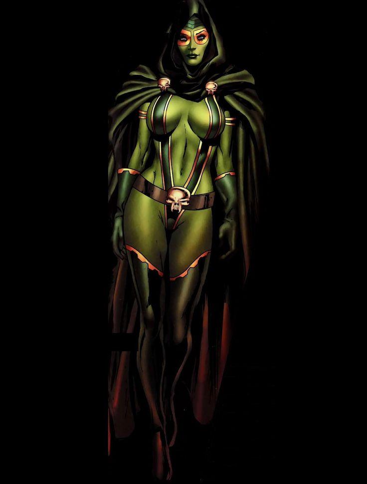 Gamora é o último de sua espécie, o Whoberi Zen,que foram exterminados pelos Badoon.Thanos encontrou a criança e decidiu usá-la como uma arma.Gamora foi levantada e treinada por Thanos para assassinar o Mago,uma versão alternativa de Adam Warlock.Thanos mostrou sua pouca bondade durante sua infância,mas Gamora foi muito leal ao homem que prometeu a ela a oportunidade de vingar a morte de sua família.  Gamora se tornou muito proficiente na arte marcial...