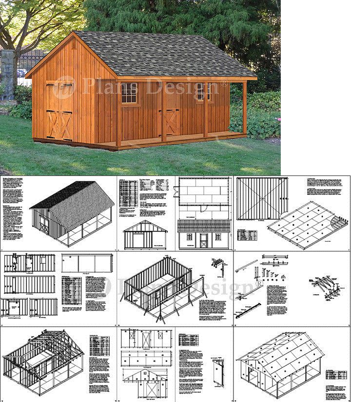 20 X 24 Shed With Covered Porch 480 Sq Ft Cabin Building Plans P52024 Ebay Storage Building Plans Porch Design Shed Design
