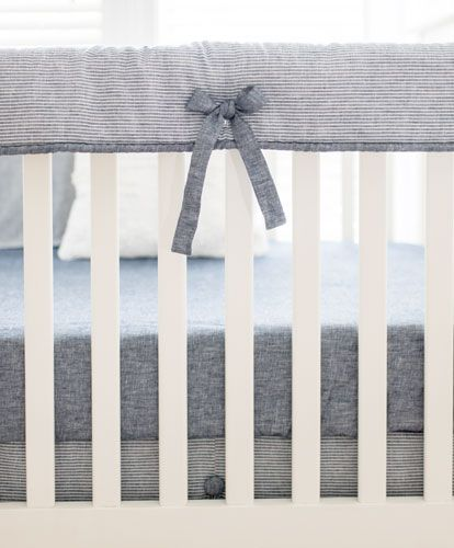 Striped Linen Crib Bedding | Boy Baby Bedding | Navy Crib Bedding