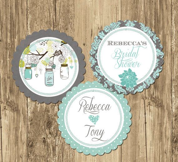 Mason Jar Teal Bridal Shower Party Rounds by PartyPopInvites, $8.00