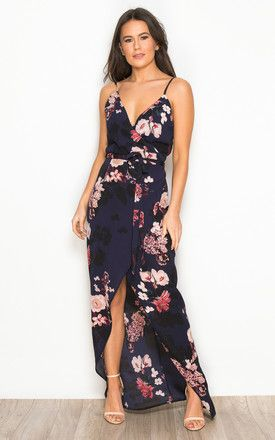 70d3cab6aa0de Mia Floral Wrap Maxi Dress Navy By Girl In Mind in 2019 | Fashion ...
