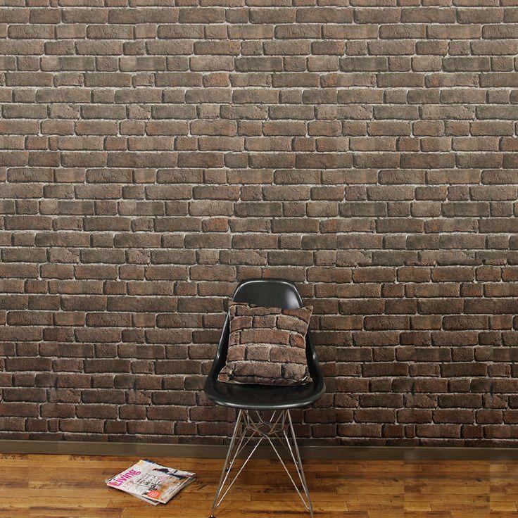 貼ってはがせるフリース素材壁紙。輸入壁紙 フランス製 コジエル ブリック(Bryk)1ロール(53cm×10m)単位で販売フリース壁紙(不織布)
