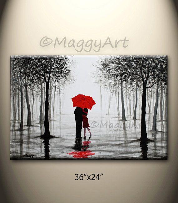 originale ombrello pittura astratta rosso amore coppia di maggyart