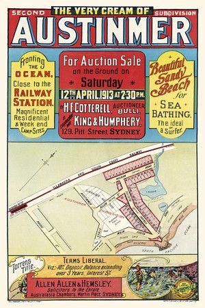 Austimer, NSW, Australia Vintage real estate poster 1913 http://www.vintagevenus.com.au/products/vintage_poster_print-tv835