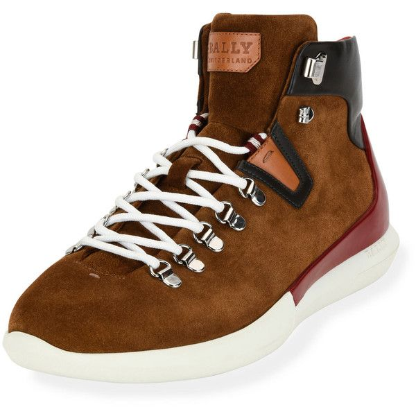 Bally Avyd Suede Hybrid Hiker-Sneaker featuring polyvore, men's fashion, men's shoes, men's sneakers, brown, mens brown suede shoes, mens wide shoes, mens wide width sneakers, mens brown shoes and mens suede lace up shoes