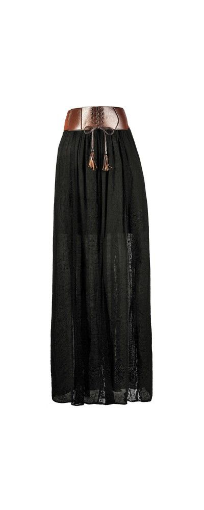 Lily Boutique Leatherette Banded Gauzy Lace Panel Maxi Skirt in Black, $30 Black Maxi Skirt, Cute Maxi Skirt, Black Prairie Maxi Skirt, Fall Maxi Skirt www.lilyboutique.com