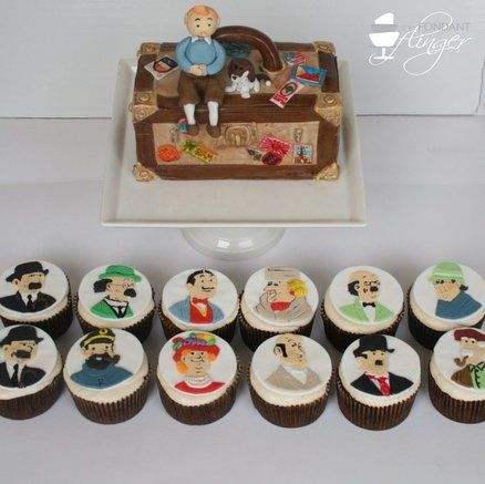 TinTin cast of character cupcake toppers: Character Cupcakes, Kiddo Birthday, Tintin Party, 7Th Birthday, Fondant Cakes, Cupcake Toppers, Birthday Cakes, Birthday Party