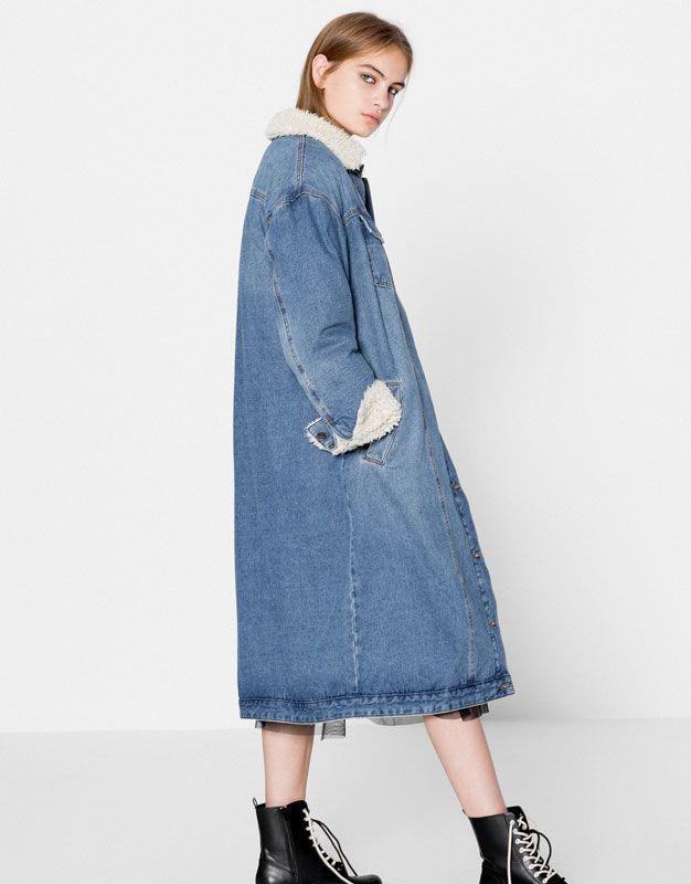 Pull&Bear - donna - abbigliamento - cappotti e giubbotti - giubbotto denim collo agnello - azzurro - 09710369-I2016