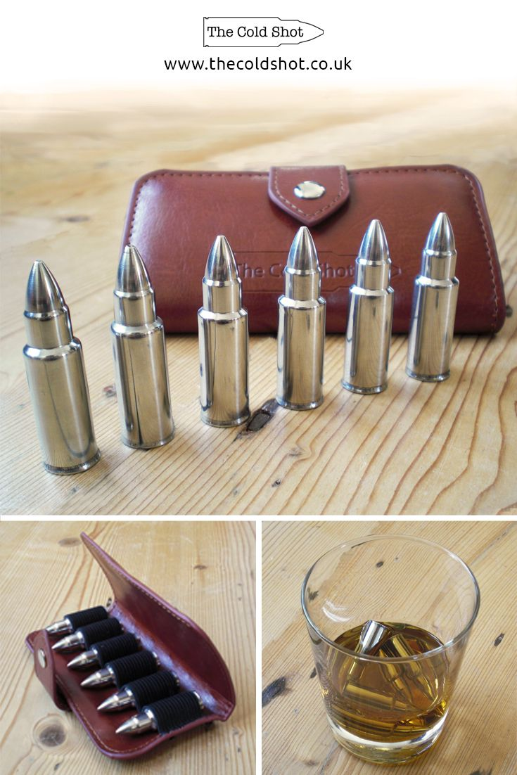 The Cold Shot - stainless steel bullet shaped whiskey stones. Looking really cool in any glass, these are ideal for chilling any drink without the diluting side effect of ice. They would make a superb gift; serving as a great talking point, and perfect for those who simply like to enjoy a well earned drink.