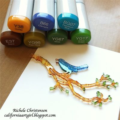 Shrink plastic art | Color the backside of the Shrink Plastic with Copic markers. Work on a ...