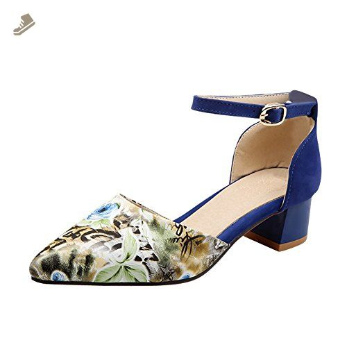 Charm Foot New Fashion Women's Chunky Heel Mary Jane Pumps Shoes (9.5, Blue ) - Charm foot pumps for women (*Amazon Partner-Link)