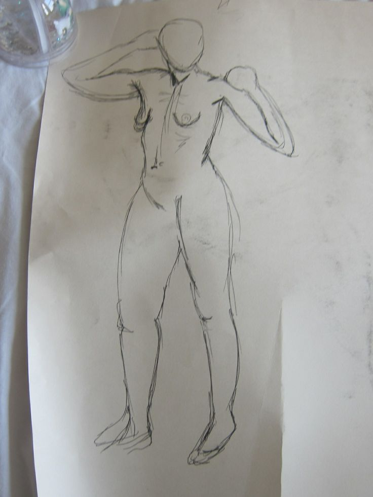 The life drawing my figure is based on. This was a 10 minute pose that I wasn't too keen on.