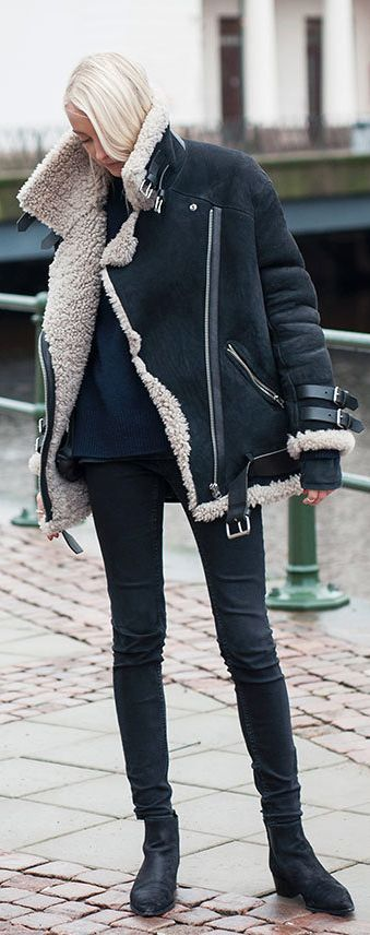 Ellen Claesson is wearing a women's black shearling coat from Acne... | Style Inspiration