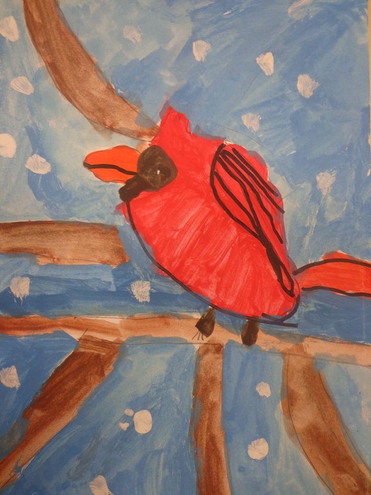 peinture de cardinal mars 2014 CP CE1