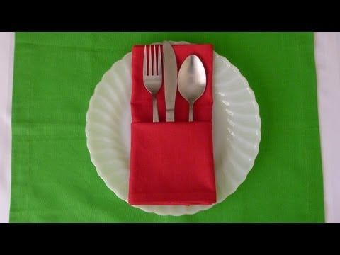 Napkin Folding - Basic Pouch - YouTube - It really doesn't get any easier than this...
