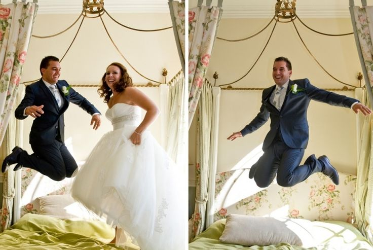 bruidsreportage, kasteel bloemendaal, vaals, van der valk, bruidssuite, bruidspaar, springen op bed, www.sjurlie.nl