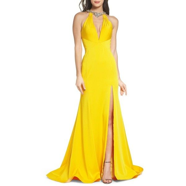 Women's Mac Duggal Jewel Neck Mermaid Gown (1,620 PEN) ❤ liked on Polyvore featuring dresses, gowns, sunshine, yellow mermaid dress, yellow ball gown, mac duggal ball gowns, mermaid gown and yellow evening dress