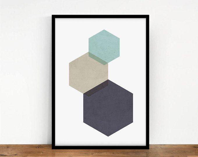 Foto geometrico di esagoni, verde di lama, arte digitale, decorazione della parete, stampa colori di esagoni, Minimal foto, arte scaricabili