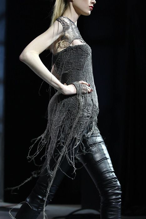 I think my dry cleaner would kill anyone that brought this drape in to be cleaned. (Dsquared via Morbid Fashion)