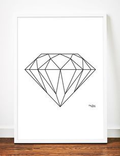 Diamond Print Geometric Digital Download Printable File by sandybanner, $4.25 Minimalist Art Scandinavian Black and White Art