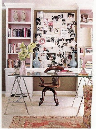 Office Inspiration Chic Pink Office Design With Glass Top Sawhorse Desk  With Chrome Steel Legs, Pink Linen Bulletin Board, Bookshelf, Cabinets,  Pink!