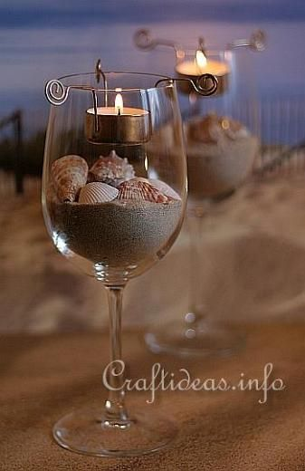 Maritime and Seashell Craft - Maritime Tea Light Candle Centerpiece With Seashells