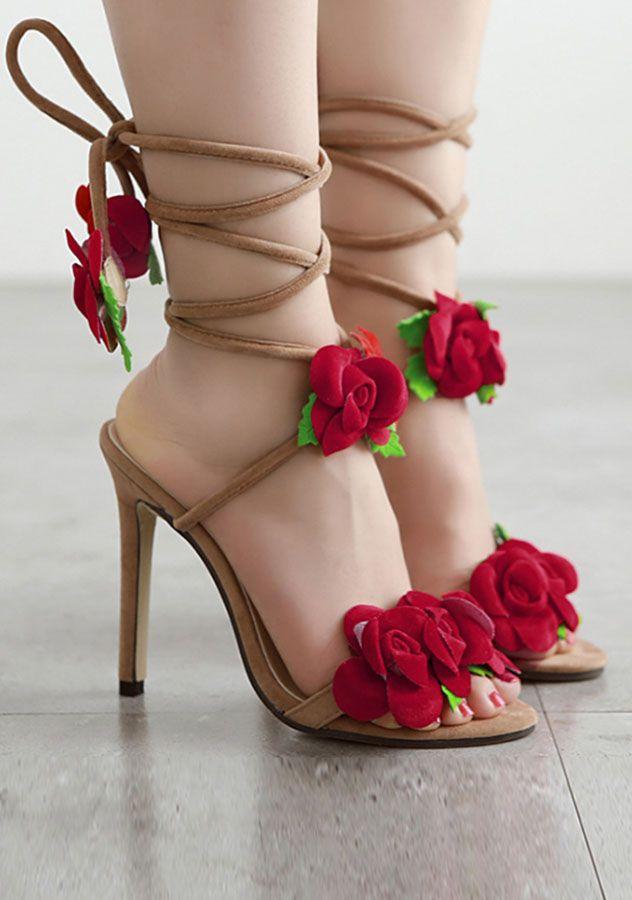 Elegant Rose Flower Lace up Open Toe High heels Sandals