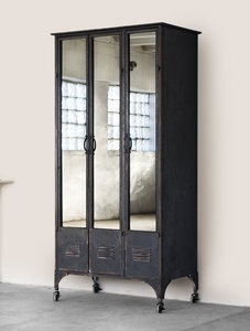 Wardrobe black with mirror