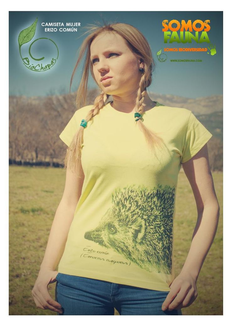 Camiseta - Erizo Común - Manga corta - SomosFauna - Color verde pistacho