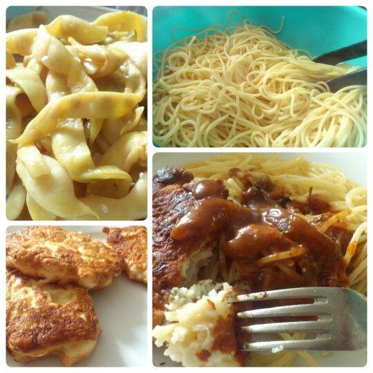 Куриные котлетки со спагетти и туршой.