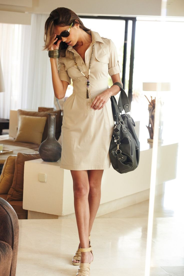 tenue pour le travail robe chemisier à boutons beige
