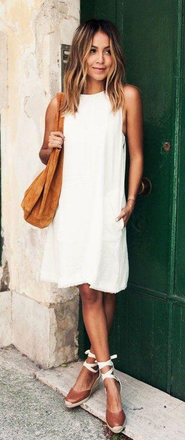 summer outfits Little White Dress + Brown Pumps + Camel Shoulder Bag