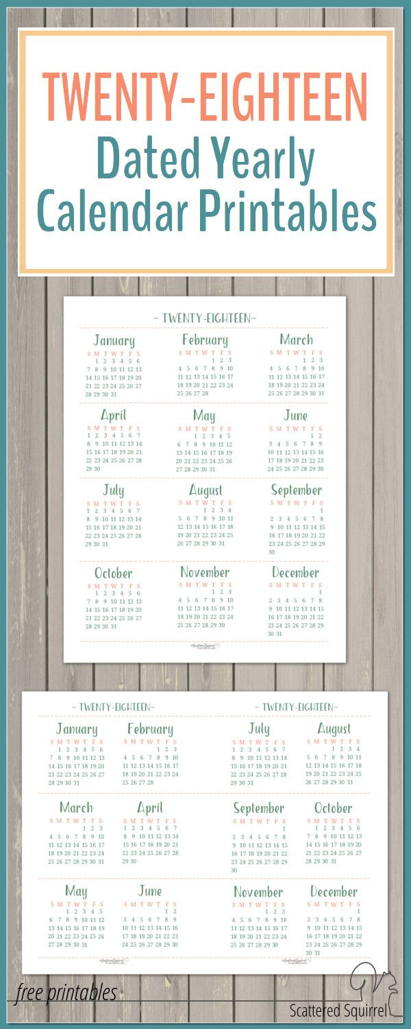 The 2018 Dated Yearly Calendar printables are ready for you to download. They're great for long-term planning.