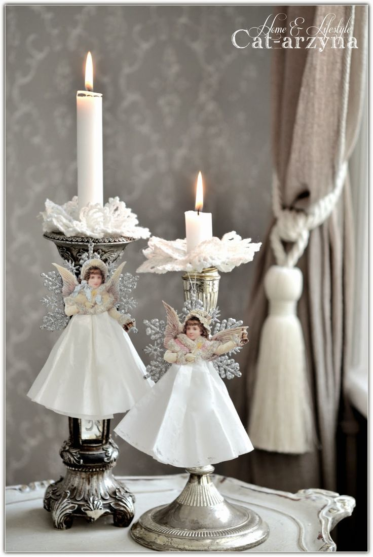 Pretty angels made from Dollar Store ornaments, cutouts, coffee filters and glue.