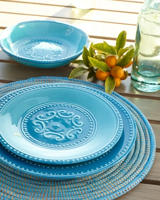 """Horchow  12-Piece """"Azul"""" Dinnerware Service  $179.00 at Horchow With its textural beaded borders, ornately scrolled medallion centers, and soothing sky blue hue, this casual dinnerware puts us in mind of cooling breezes wafting over crystal-clear waters."""