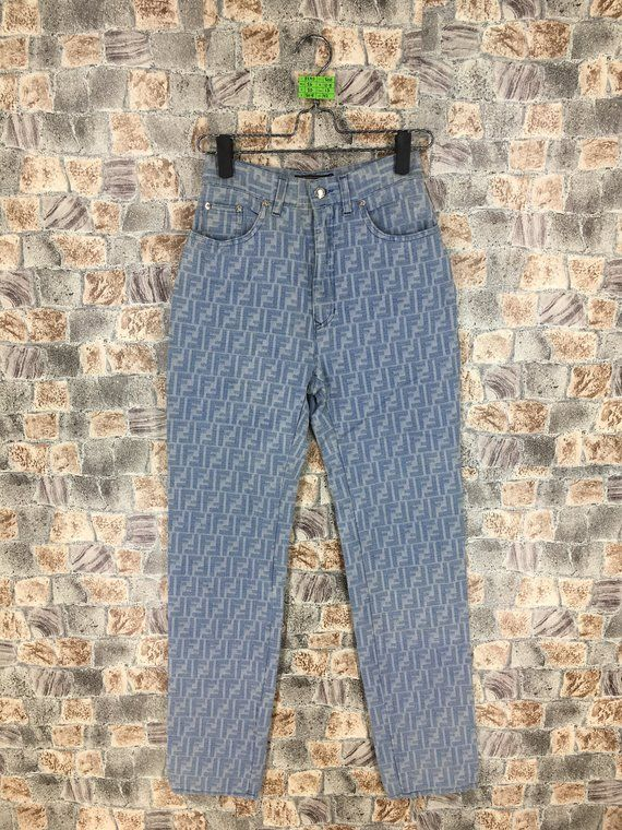 b5730eae293e FENDI Zucca Pants Fendi Monogram Blue Pants Fendi Roma Jeans Fendi Jeans  Trouser Made In Italy Waist 26 inches in 2018