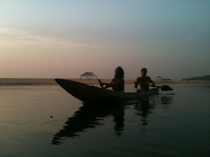 taking the wooden canoe out on the JO lagoon at sunset