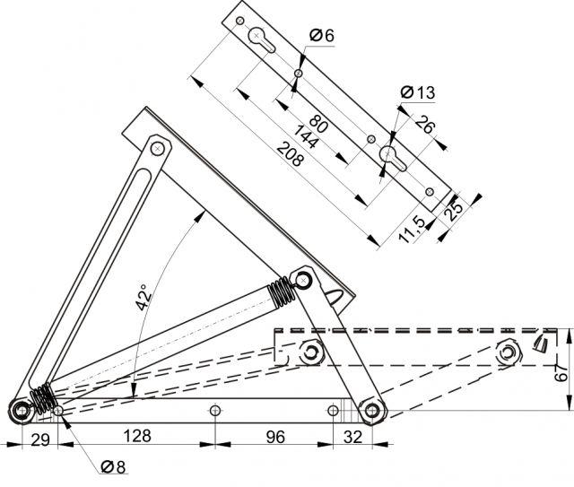 Механизм подъема матраца тахты 441