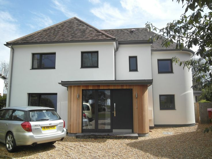 A 1930 detached house extended and refurbished using Passivhaus principles. 200mm of external insulation, triple glazed windows, mechanical ventilation with heat recovery.