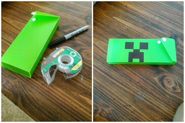 Minecraft Pencil Case.  Pick up a 70 cent pencil case from Target, tape of some blocks, color them in with a sharpie, and viola!!!  Creeper pencil case.