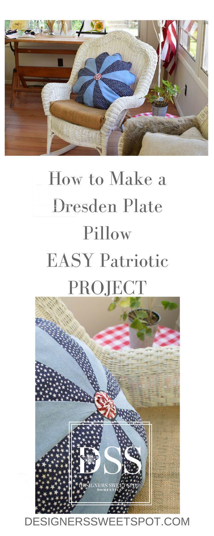 How to Make a Dresden Plate Pillow with Patriotic Fabrics|Designers Sweet Spot|www.designerssweetspot.com