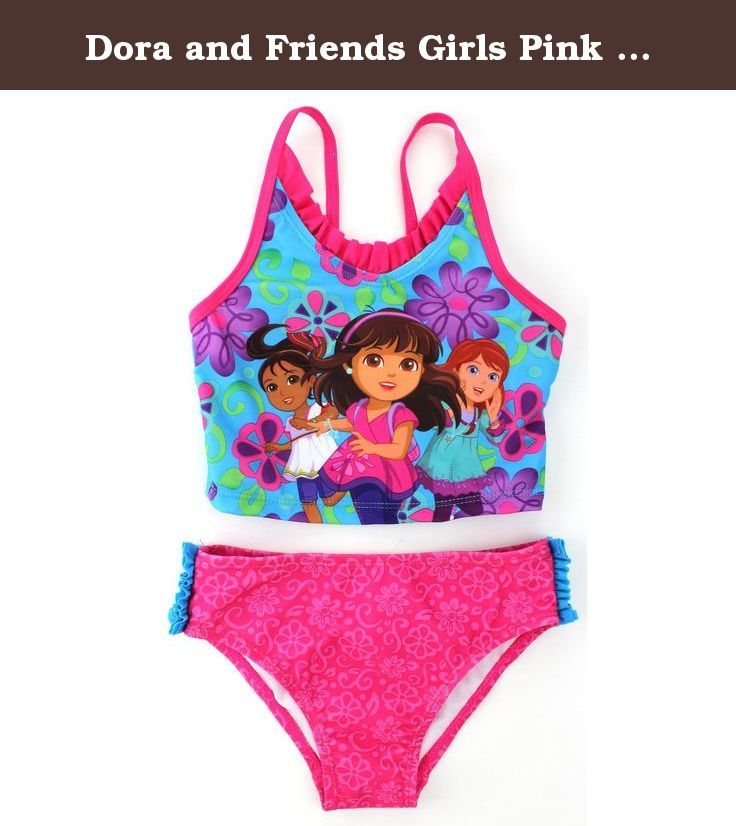 Dora and Friends Girls Pink Tankini Swimwear (2T). Let's go! Learn and play in the city with 10 year old Dora wearing this adorable Dora and Friends 2 piece tankini bikini swimsuit! Perfect for the beach or kickin' around the pool, this Nickelodeon Dora and Friends toddler little girls bikini swimsuit is a perfect choice! Featuring Dora the Explorer herself, and her friends, Naiya and Kate amongst flowers and matching bikini bottoms that are cinched at the sides, your toddler is sure to…