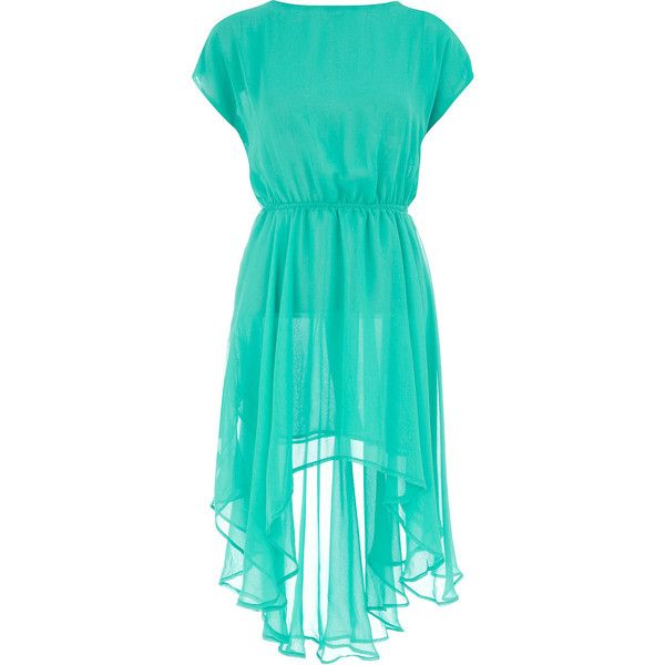 Turquoise dip hem dress (57 BRL) ❤ liked on Polyvore featuring dresses, vestidos, blue, cinched waist dress, short front long back dresses, turquoise dress, turquoise blue dress and turquoise green dress