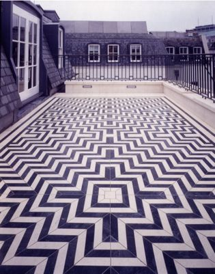 Tess Jaray design. Great Peter Street, London. Commissioned to create a Terrace for the Chairman's office, Arts Council of Great Britain.
