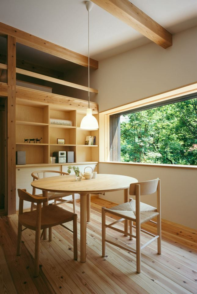 Habuka mountain retreat, a small timber-framed house by Satoshi Irei, in Japanese alps.
