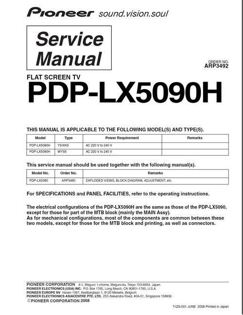 Pioneer PDP-LX 5090 H , ARP-3492 , Kuro Service Manual 100 per cent satisfaction guaranteed DOWNLOAD