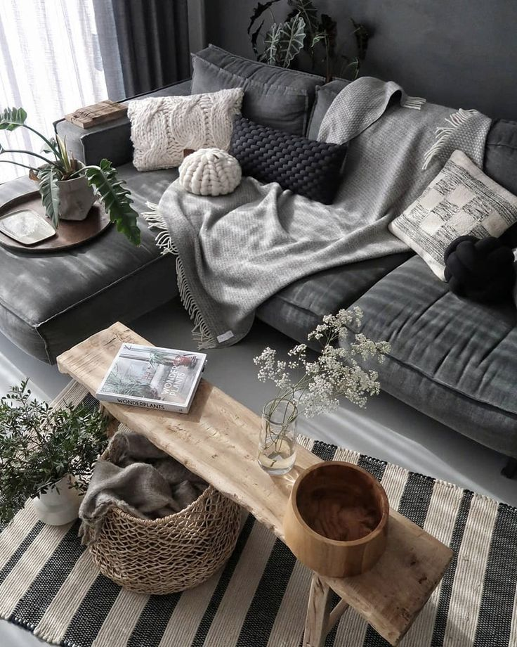 Deko Wohnzimmer grau weiße Wand – Möbel Decoration