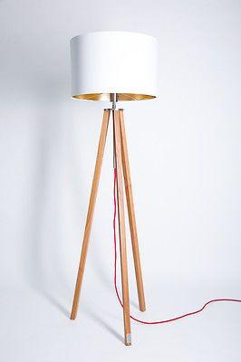 Beautiful Stehlampe Eiche Holz Natur Oder Ge lt Bauhaus Stil Dreibein Schirm wei